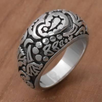 Sterling silver domed ring, 'Paisley Plains' - 925 Sterling Silver Paisley Cocktail Ring from Bali