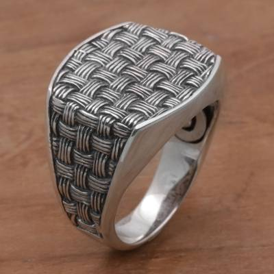 925 Sterling Silver Woven Motif Signet Ring from Bali