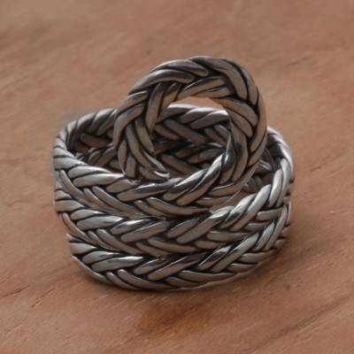 Sterling Silver Rope Motif Cocktail Ring from Bali