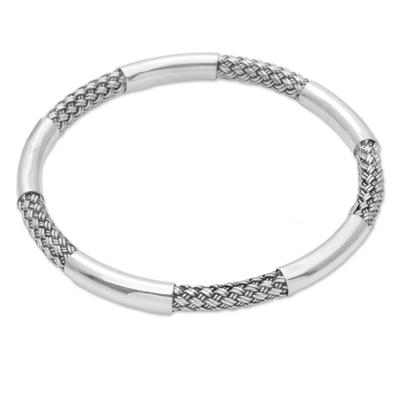 Sterling Silver Woven Motif Bangle Bracelet by Bali Artisans