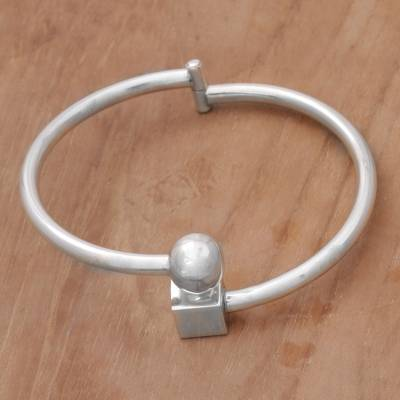 Sterling silver bangle bracelet, 'Simple Bali' - Sterling Silver Simple Bangle Bracelet by Balinese Artisans
