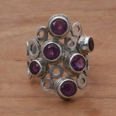 Amethyst cocktail ring, 'Lavender Circles' - Amethyst and Sterling Silver Cocktail Ring from Bali
