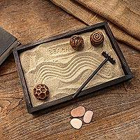Wood zen garden, 'Serene Beach' - Jempinis Wood Meditative Zen Garden from Indonesia