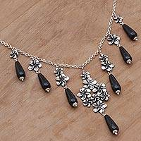 Onyx pendant necklace, 'Jepun Panorama' - Onyx and Sterling Silver Pendant Necklace from Indonesia