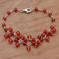 Carnelian beaded bracelet, 'Berry Vine' - Carnelian and Sterling Silver Beaded Bracelet from Indonesia