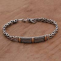 Gold accent sterling silver pendant bracelet,