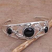 Onyx cuff bracelet, 'Night Leaves' - Onyx and Sterling Silver Leafy Cuff Bracelet from Bali