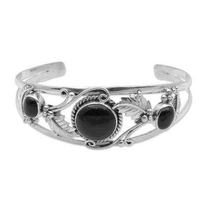 Onyx and Sterling Silver Leafy Cuff Bracelet from Bali
