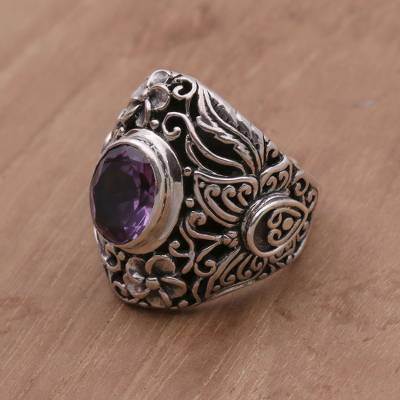 orange sapphire platinum ring - Amethyst and Sterling Silver Floral Cocktail Ring from Bali