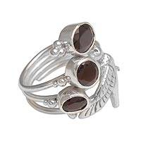 Garnet cocktail ring, 'Natural Hummingbird' - Garnet and Sterling Silver Hummingbird Ring from Bali