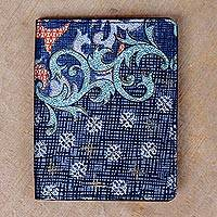 Batik cotton and faux leather card holder, 'Azure Season' - Batik Cotton and Faux Leather Card Holder in Azure