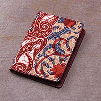 Batik cotton and faux leather card holder,