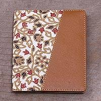 Batik cotton and faux leather passport wallet, 'Beige Blossom' - Batik Cotton and Faux Leather Floral Passport Wallet