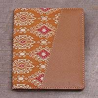 Batik cotton and faux leather passport wallet, 'Beige Temple' - Batik Cotton and Faux Leather Passport Wallet in Beige