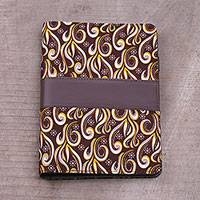 Batik cotton and faux leather planner, 'Chocolate Swirls' - Batik Cotton and Faux Leather Planner in Chocolate from Bali