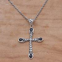 Onyx pendant necklace, 'Chapel Drops' - Onyx and Sterling Silver Cross Pendant Necklace from Bali