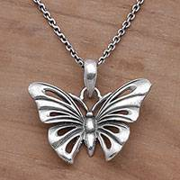 Sterling silver pendant necklace, 'Emerging Butterfly' - Sterling Silver Butterfly Pendant Necklace from Bali
