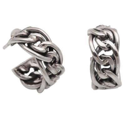 Sterling Silver Chain Motif Half-Hoop Earrings from Bali