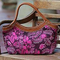 Batik cotton leather accent handle handbag, 'Fuchsia Flowers' - Batik Floral Leather Accent Cotton Handle Handbag from Bali