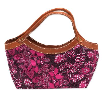 Batik Floral Leather Accent Cotton Handle Handbag from Bali