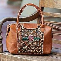 Batik leather handbag, 'Kawung Blossom' - Traditional Batik Floral Leather Handle Handbag from Bali