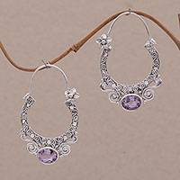 Amethyst hoop earrings, 'Spiral Arches' - Amethyst and Sterling Silver Floral Hoop Earrings from Bali