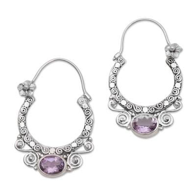 Amethyst and Sterling Silver Floral Hoop Earrings from Bali