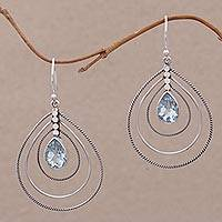 Blue topaz dangle earrings, 'Blue Constellation' - Blue Topaz and Sterling Silver Drop Earrings from Bali