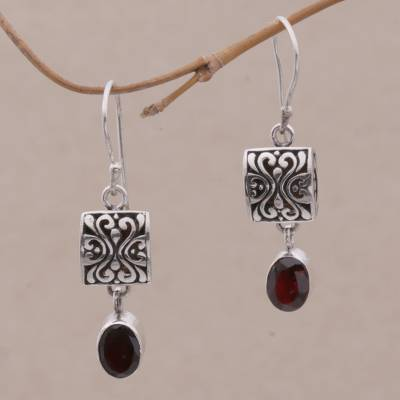 Garnet dangle earrings, 'Red Horizon' - Sterling Silver and Garnet Dangle Earrings from Bali