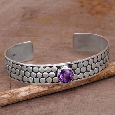 Amethyst cuff bracelet, Purple Bubble Bath
