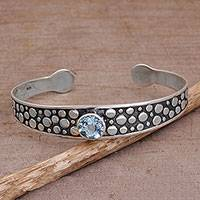 Blue topaz cuff bracelet, 'Blue Stone Path' - Blue Topaz and Sterling Silver Cuff Bracelet from Bali
