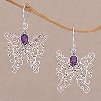 Amethyst dangle earrings, 'Butterfly Swirls' - Amethyst and Sterling Silver Butterfly Earrings from Bali