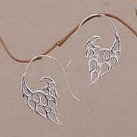 Sterling silver drop earrings, Dancing Flames - Indonesian Handmade Sterling Silver Flame Drop Earrings