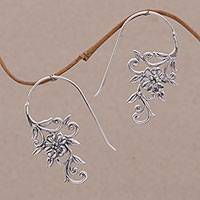 Sterling silver drop earrings, 'Floral Vines' - Indonesian Handmade Sterling Silver Flower Drop Earrings