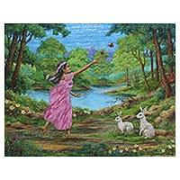 'Nature's Fantasy' (2016) - Signed Painting of a Girl with Rabbits from India