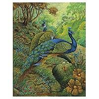 'Morning Peacock' (2016) - Signed Impressionist Painting of Peacocks from Bali