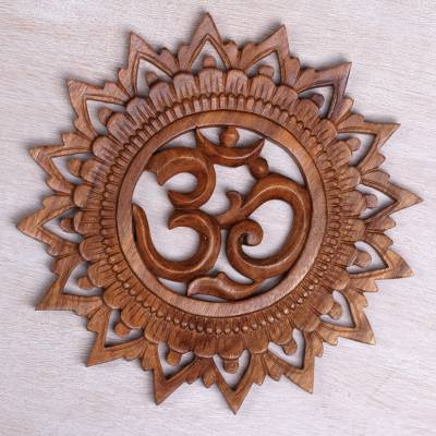 Wood relief panel, 'Om Bloom' - Hand Carved Suar Wood Om Relief Panel from Bali