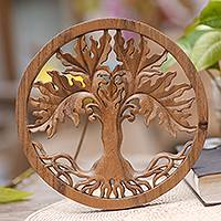 Wood relief panel, 'Fertility Tree' - Hand Crafted Suar Wood Tree Wall Relief Pandel from Bali