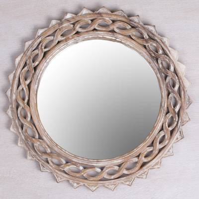 Wood wall mirror, 'Eternal Shine' - Handcrafted Suar Wood Circular Wall Mirror from Bali