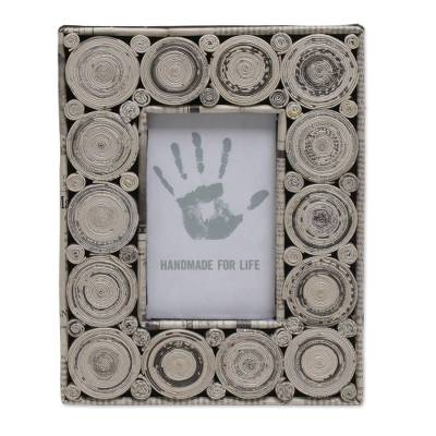 3x5 Recycled Paper Photo Frame in Grey from Bali