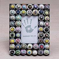 Recycled paper photo frame, 'Colorful Shrines' (3x5) - 3x5 Recycled Paper Photo Frame with Circle Motifs