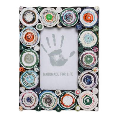 3x5 Recycled Paper Photo Frame with Circle Motifs