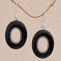 Sterling silver dangle earrings, 'Dotted Ovals' - Sterling Silver and Sono Wood Oval Earrings from Bali