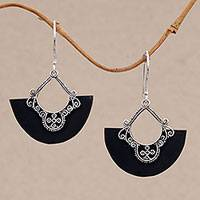 Sterling silver dangle earrings, 'Bali Fans' - Sterling Silver and Lava Stone Fan Earrings from Bali