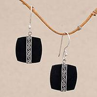 Sterling silver dangle earrings, 'Temple Bands' - Sterling Silver and Lava Stone Spiral Motif Dangle Earrings