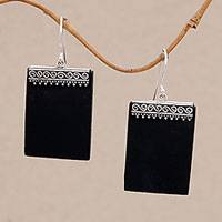Lava stone dangle earrings, 'Dotted Walls' - Sterling Silver and Lava Stone Rectangular Earrings