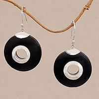 Lava stone dangle earrings, 'Wheels of Change' - Sterling Silver and Lava Stone Circle Earrings from Bali