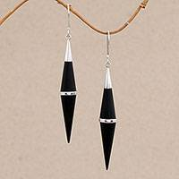 Sterling silver accent dangle earrings, 'Elegant Cones' - Sterling Silver and Sono Wood Cone-Shaped Dangle Earrings