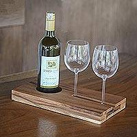 Wood wine tray, 'Evening Reverie' - Handcrafted Brown Suar Wood Wine Tray from Bali