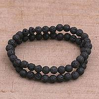 Lava stone beaded stretch bracelets, Moon Circles (pair) - Pair of Beaded Lava Stone Stretch Bracelets from Bali